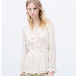 Zara Shirt With Guipure Lace Bib Front
